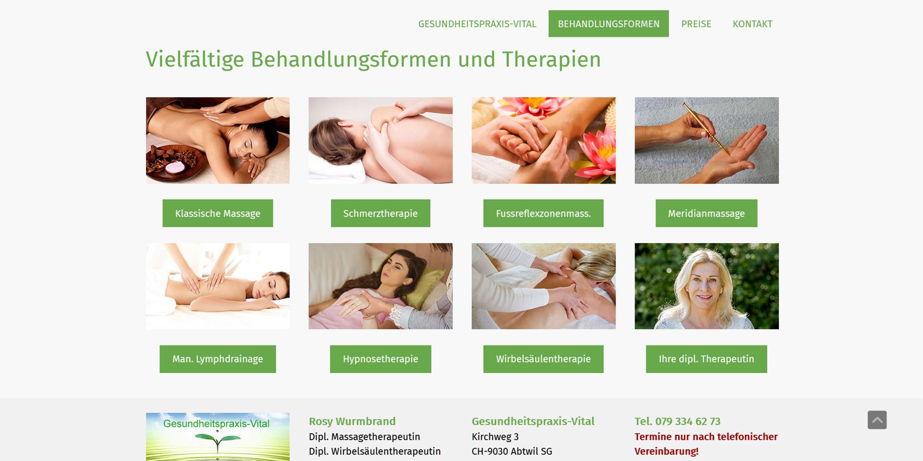 Website Gesundheitspraxis Vital Abtwil SG