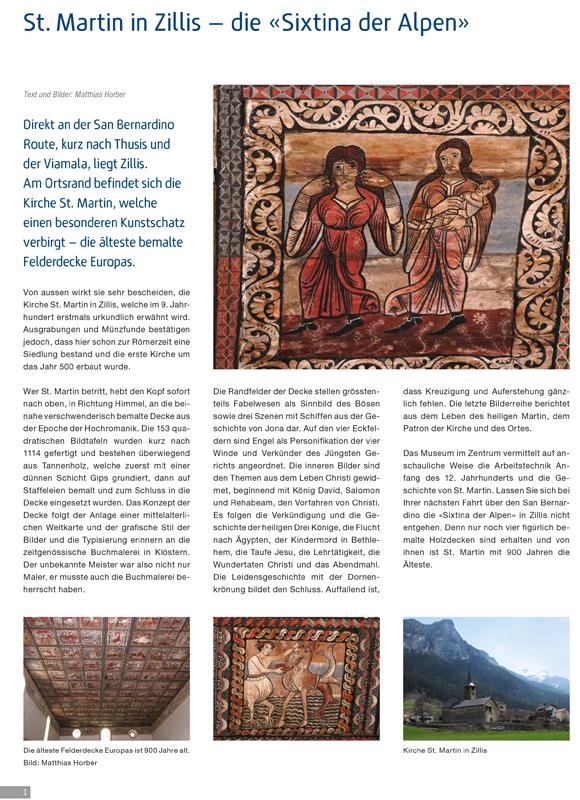 Vorschaubild Bericht Deckenmalereien Kirche St. Martin Zillis GR